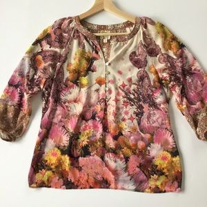Fig and Flower Paisley Floral Peasant Popover Top